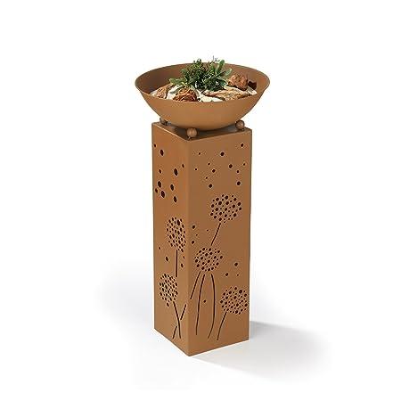 Rostsäulen Mit Beleuchtung | Easymaxx 04092 Dekosaule Mit Pflanzschale Und Integrierter Led