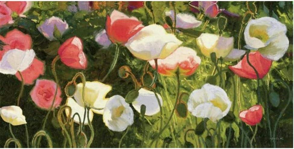 yhyxll Flores Amapola Flor Pintura al óleo Carteles e Impresiones Arte de la Pared Lienzo Pintura Imagen para la Sala de Estar Decoración del hogar -50x100cm Sin Marco