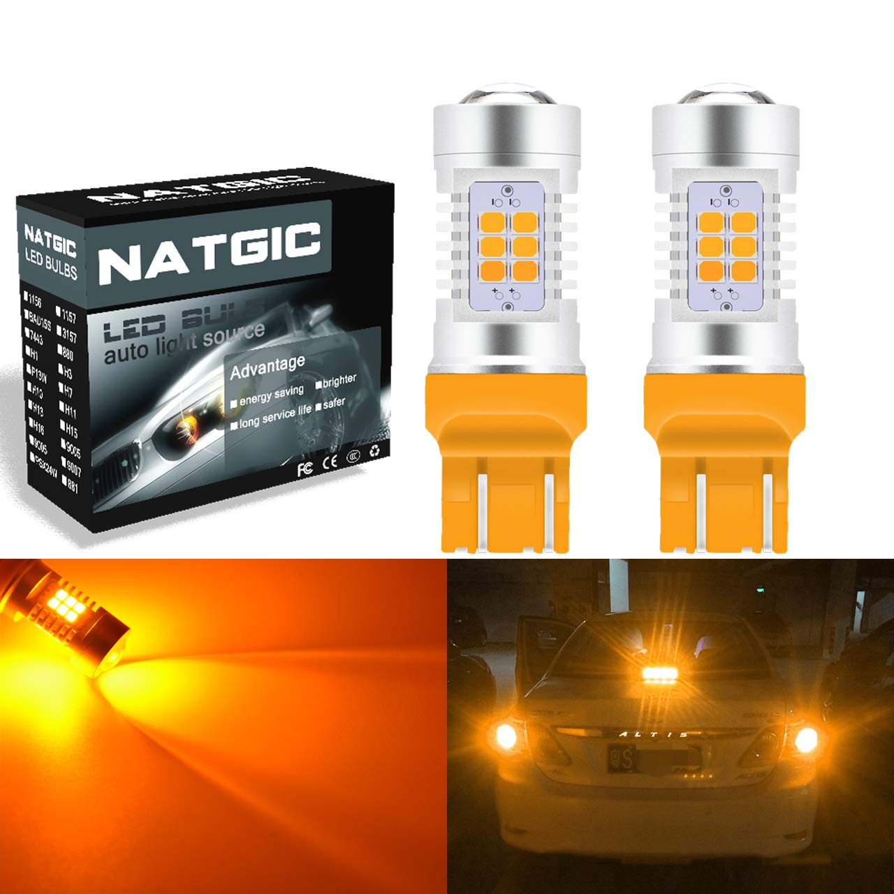 NGCAT 7440 7440NA Led Bulb 7441 992 T20 2835 21 SMD Chipsets LED Bulbs with Lens Projector Brake Turn Signal Tail Backup Reverse Lights,Amber 10-16V 10.5W 2-Pack