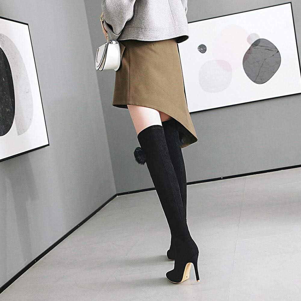 SHZSMHD Botas Altas de Muslo de Gamuza elástica Botas Altas sobre la Rodilla Tacones Altos Zapatos de Mujer Negro Gris Rosa Negro 3pCRpOWn