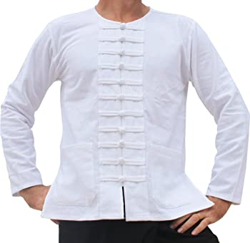 Round Collar Asian Sailors Many Button Thick Cotton Plus Size Shirt