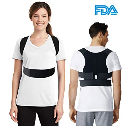 Corrector de Postura de Espalda Brace Ajustable Hombro Band Corrección  Cinturón Negro 1bc9ea4d72fa
