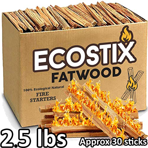 EasyGoProducts EGP-STIX-008 Eco-Stix Fatwood Fire Starter Kindling Firewood Sticks - Bulk Packaged (-2.5 Lbs) (Starter Wood Fire Handle)