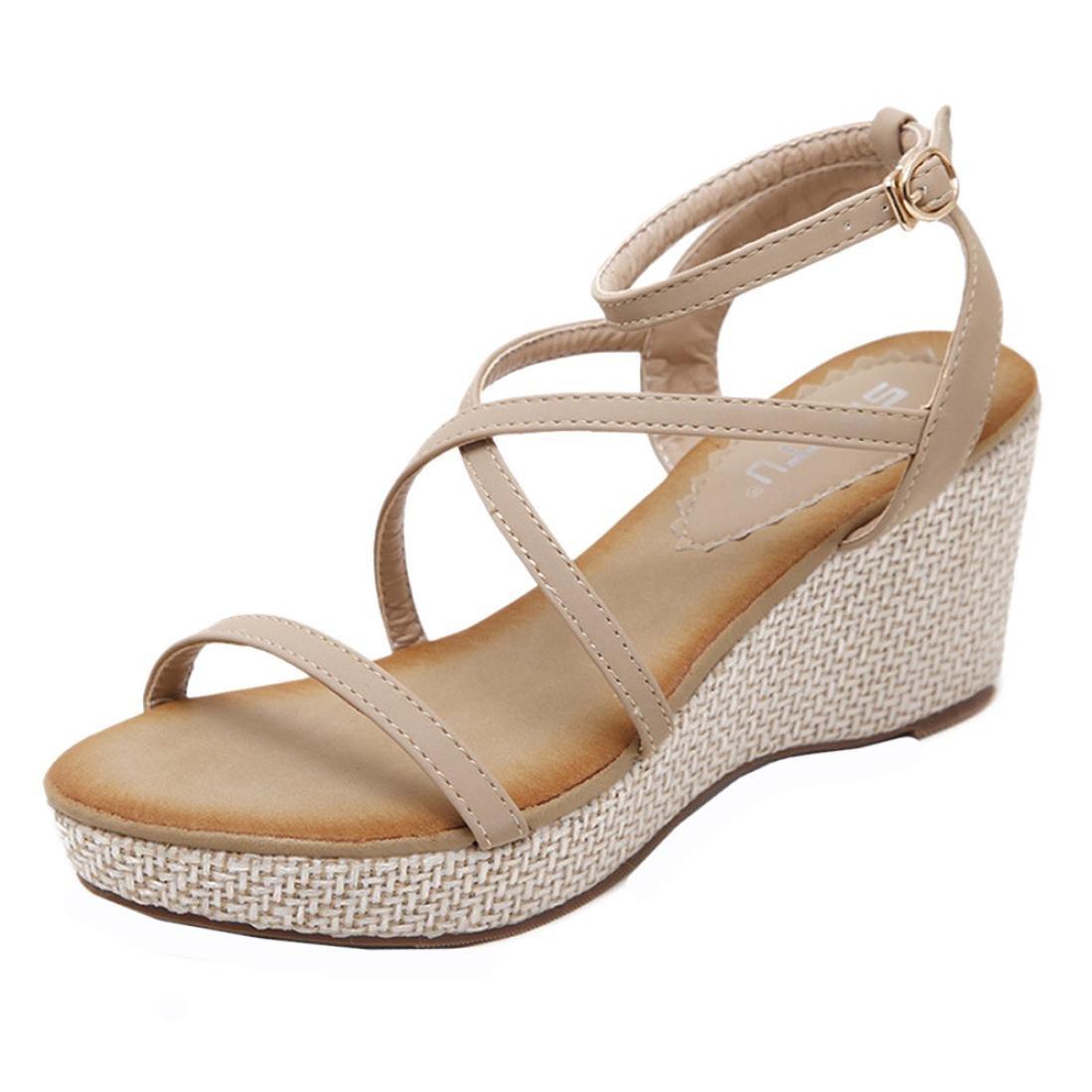 Aurorax-Shoes Womens Wedges Dress Sandals Ankle Strap Bandage Peep Toe Platform Summer Shoes Clearance Sale (Khaki, 39(US:7))