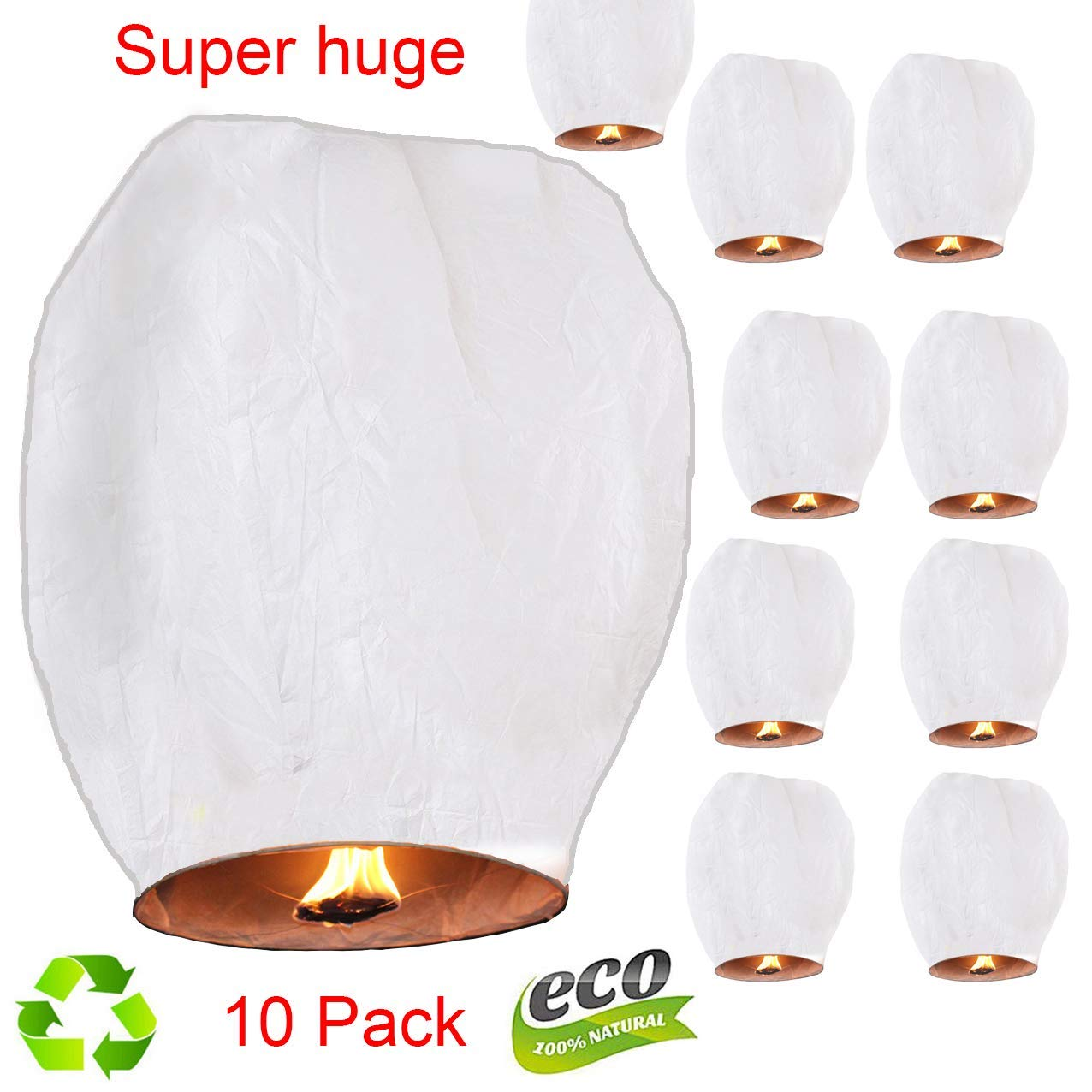 Sky Lanterns Chinese Lanterns Biodegradable Paper Flying Wish Lights,Sky Fly Candle Lamp for Wish Party 、 Birthday、Wedding、Memorial(Pack of 10,White) by Gonsuotao
