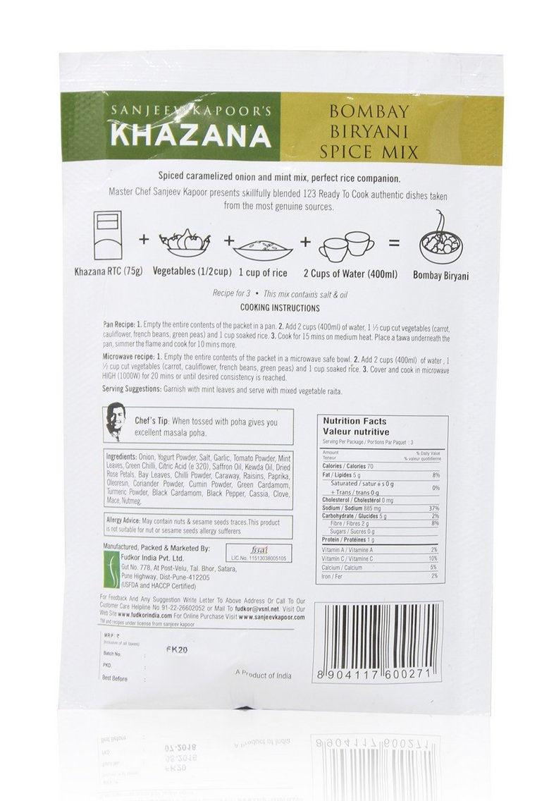 Sanjeev Kapoor\'s Khazana Masala - Bombay Biryani, 75g Pack: Amazon.in