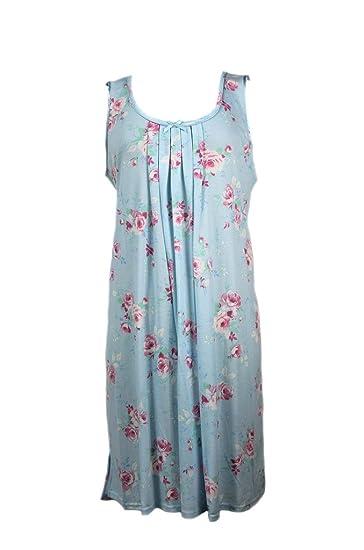 6addb9ffe7 New Miss Elaine Pink Bouquets on Blue Floral Print Knit Nightgown Medium