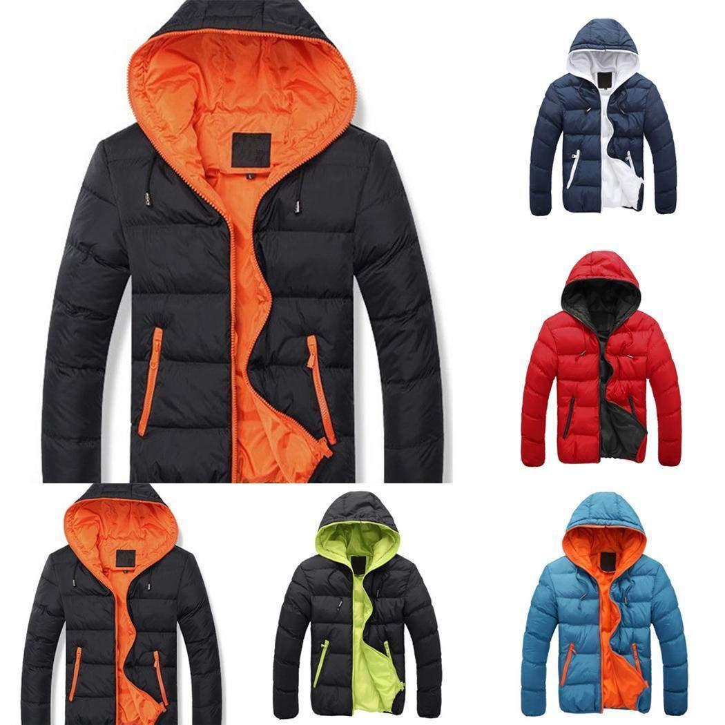 Masoke Homme - Hommes Veste en Coton Décontracté à Manches Longues à Capuche Manteau à Glissière d'hiver Manteaux Bleu