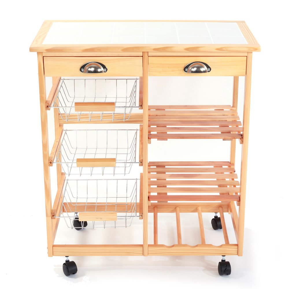 Aukfa Kitchen & Dining Room Cart 2-Drawer 3-Basket 3-Shelf Storage Rack with Rolling Wheels Wooden Color