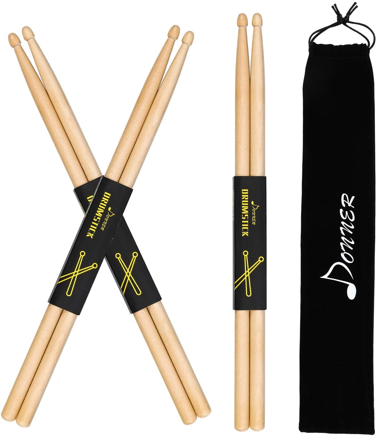 Donner Snare Drum Sticks 5A Classic Maple Wood Drumsticks 3 Pair With Carrying Bag