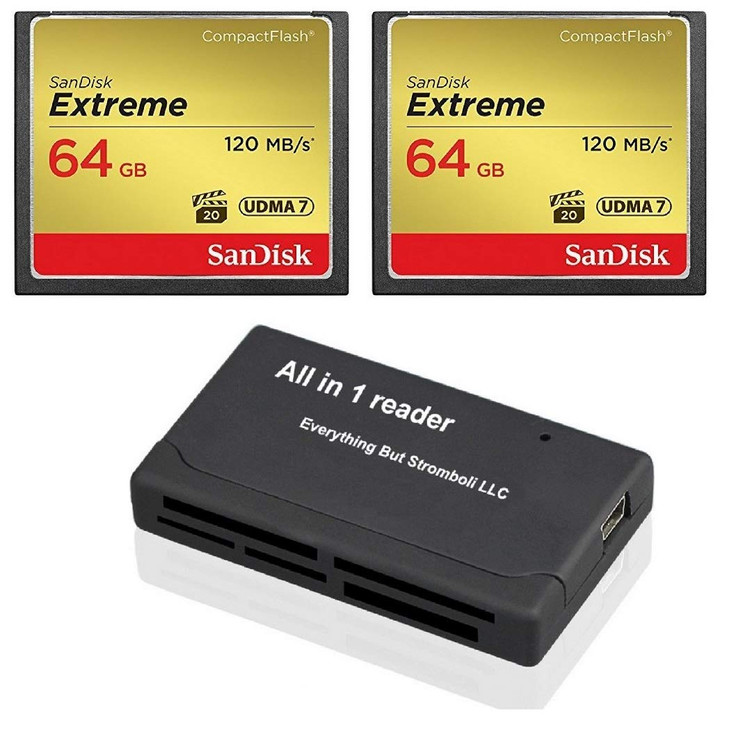 SanDisk Extreme 64GB CompactFlash CF Memory Card (2 Pack) Works with Canon EOS 5D Mark IV Digital DSLR Cameras HD UDMA 7… 1 Bundle includes (x2) 64GB CF Extreme SanDisk, (x1) Combo Memory Card Reader - Includes CF, SD, Micro SD, M2, and MS, MSPD slots for easy transfer Compatible with Nikon D300S, D810, Canon EOS 7D Mark II, 7D, EOS 5D Mark III and more DSLR Cameras! Professional-Grade Video Capture - VPG-20 ensures sustained data recording rate of 20MB/s for a smooth and unbroken video stream