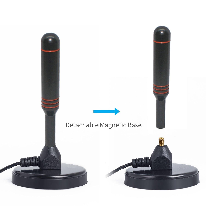Antena TDT de varilla digital, Alta Ganancia Antena TV de 35 dB | TV / PC / MAC | Potente Antena Amplificada TDT con Base Magnética Estable y 3m de Cable ...