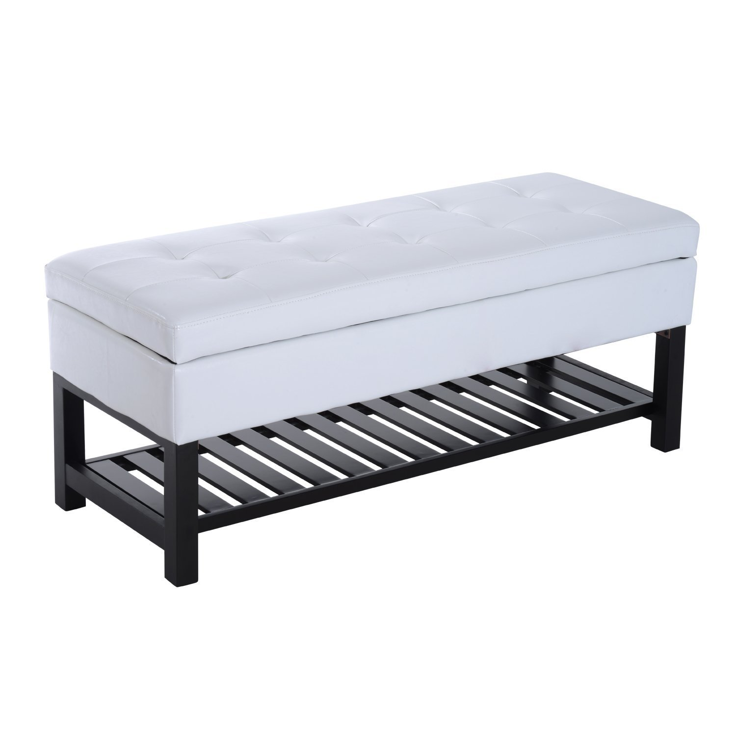 HOMCOM 44'' Tufted Faux Leather Ottoman Storage Bench with Shoe Rack - White by HOMCOM