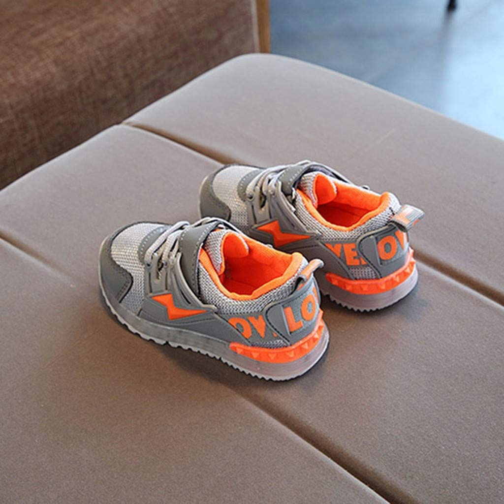 Kids Toddler Boys Girls Led Light Shoes Mesh Sneakers for 1-6 Years Old Child Breathable Outdoor Running Shoes 4.5-5 Years Old, Gray