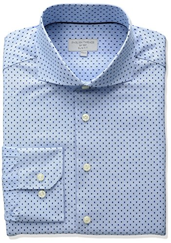 English Threads Men's Slim Fit Arrow Dress Shirt, Blue, 14.5