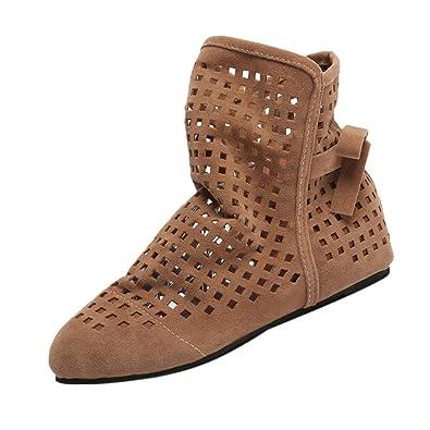Botines Altos de Plano para Mujer Otoño Invierno 2018 PAOLIAN Botas Hueco Terciopelo Suela Blanda Militares Casual Zapatos de Señora Moda Calzado de ...