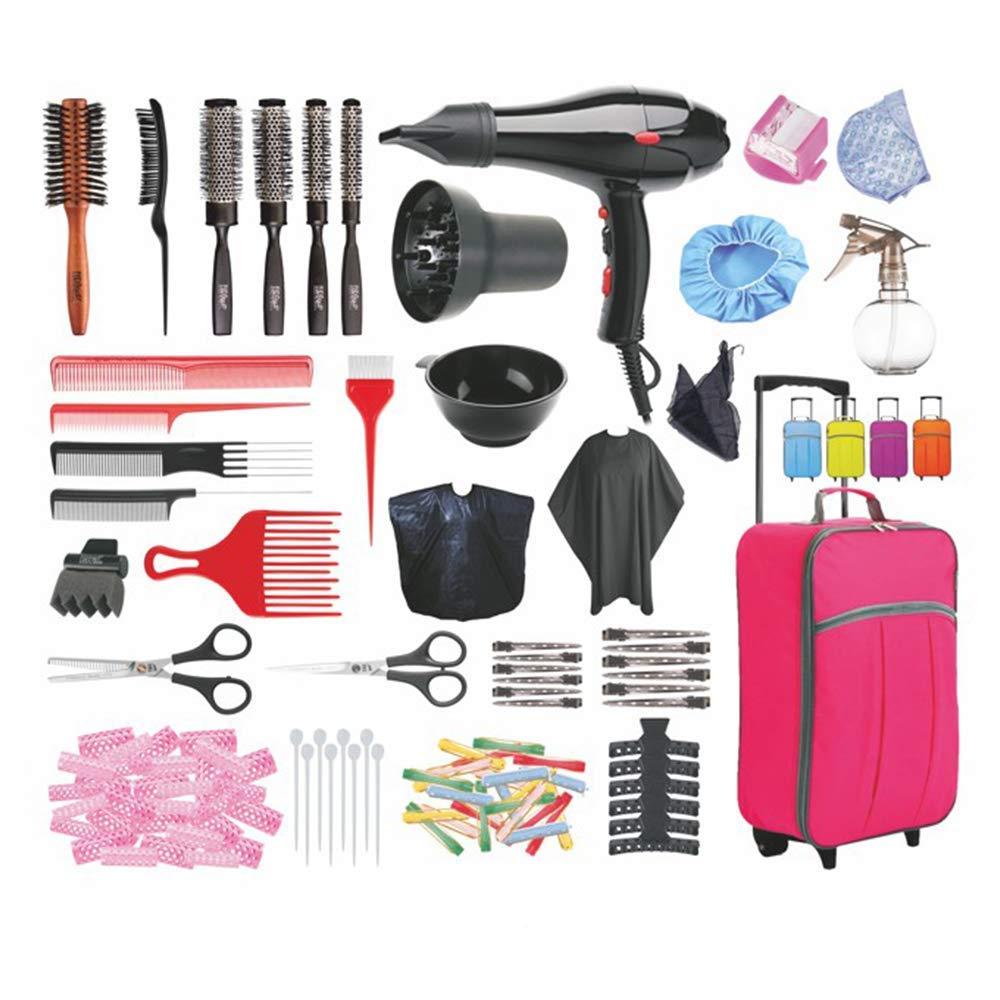 BOLSO DE ACADEMIA DE PELUQUERIA COMPLETO - Kit con peines, secador profesional, difusor, cepillos, pinzas, bigudíes, pulverizador, capa, etc - La Casa del Peluquero