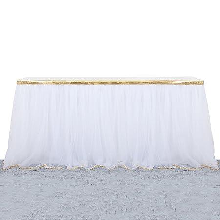 Elegante tul falda de mesa para fiesta, cumpleaños, boda, eventos ...