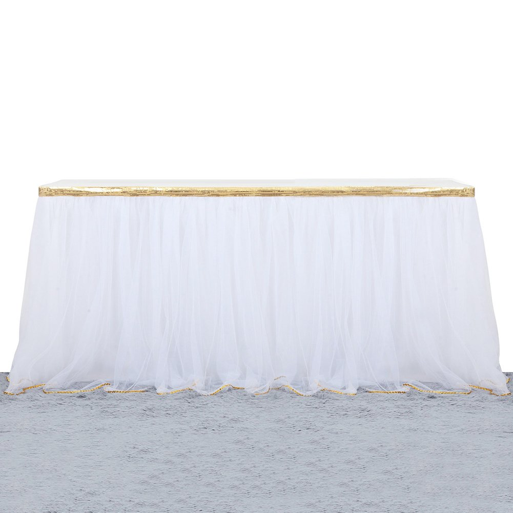 9ft Tutu Table Skirt Tulle Tableware Table Cover For Party,Wedding,Birthday Home Decoration,White with Gold Ribbon