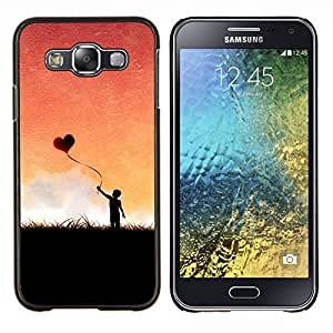 EJOOY---Cubierta de la caja de protección para la piel dura ** Samsung Galaxy E5 E500 ** --Globo del corazón del amor Romance Boy Cielo Romance
