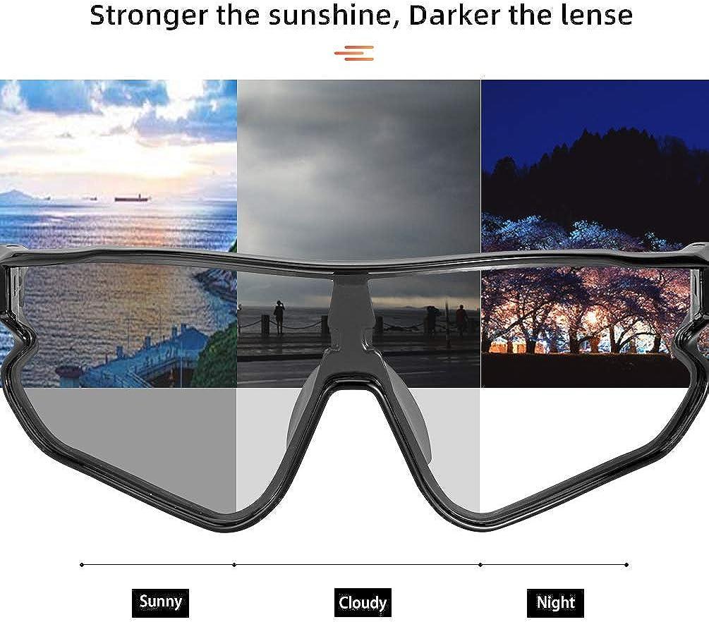 Photochromic Sunglasses for Men Women Bike Glasses 100% UV Protection: Clothing