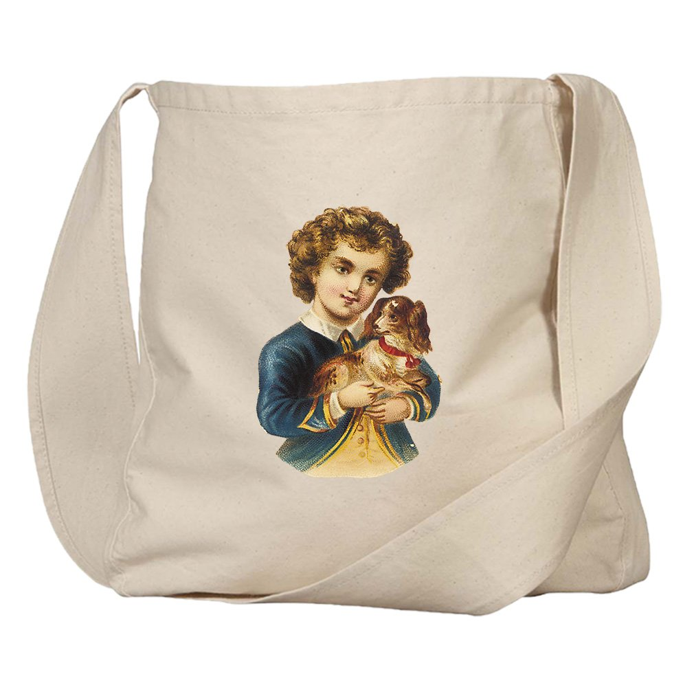 Market Bag Organic Canvas Boy In Navy Jacket With Puppy Animals by Style in Print