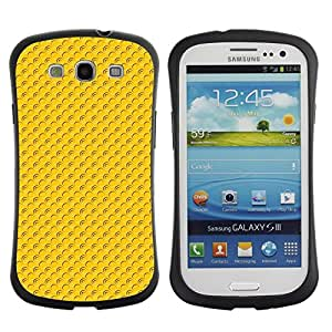 TopCaseStore Hybrid Rubber Case Hard Cover Protection Skin for SAMSUNG GALAXY S3 & I9300 - Pattern yellow dots