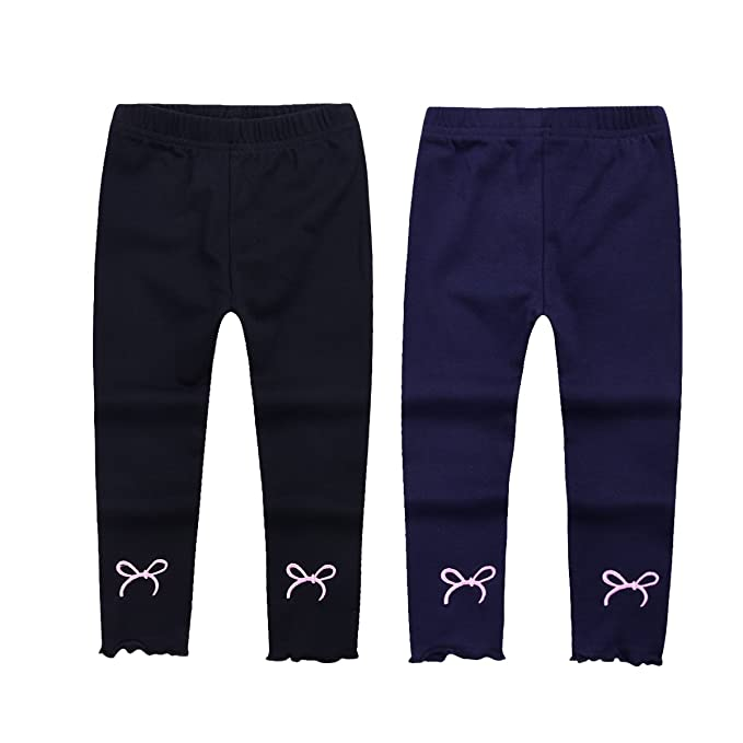 023f92bbc71d4 little dragon pig Toddler Girl Leggings Black Navy Blue 2Pack Kids Girl  Footless Tights Cotton Pants