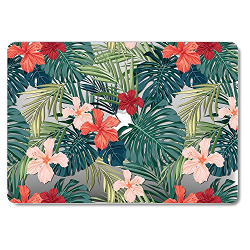 GMYLE MacBook Air 13 Inch A1369/A1466 (2008-2016,2017,2018 Release) Case, Hard Plastic Shell Matte Scratch Guard Cover for Apple Mac Air 13 - Tropical Plants(Red Hibiscus)