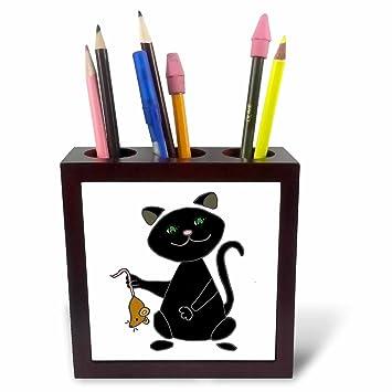 3dRose ph_245411_1 - Soporte para bolígrafo de 5 pulgadas con diseño de gato y dibujos animados, color negro: Amazon.es: Oficina y papelería