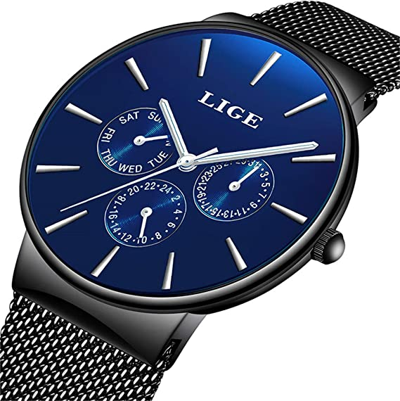 LIGE Relojes Hombres Moda Casual Impermeable Deportes Cuarzo Analógico Reloj Hombre Azul Minimalismo Acero Inoxidable Cinturón de Malla Fecha Reloj
