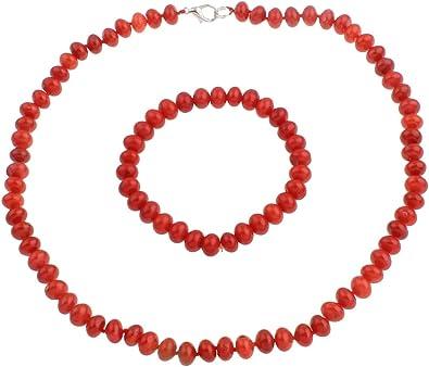 TreasureBay Eccezionale set di gioielli, colore: rosso