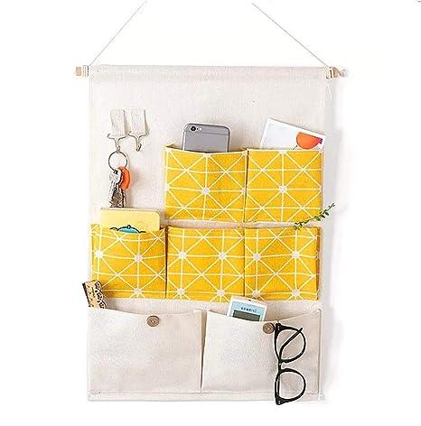 Pequeña Caja de Almacenaje Bolsa Almacenamiento Puerta Suspendida Organizador Pared Bolsas Colgante Bolsillo 7 bolsillos (Amarillo) …