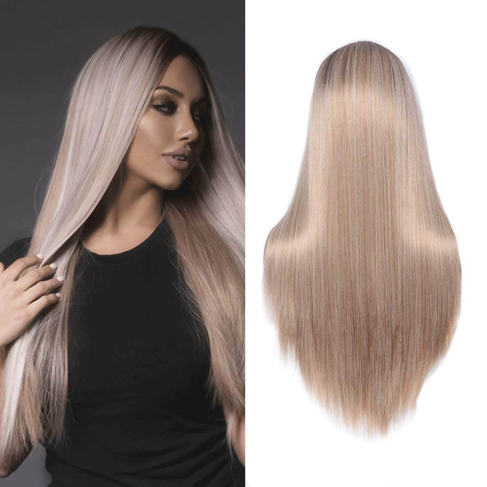 MISS WIG 30inch Long Wig for Women Hair Wig Straight Brunette with Blonde Highlights Color Hair Wig