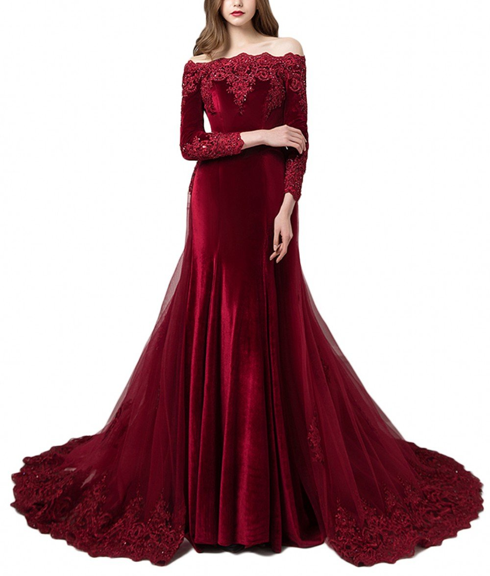 Black Wedding Dress With Detachable Train: LEJY Vintage Long Sleeves Velvet Evening Gown Off The