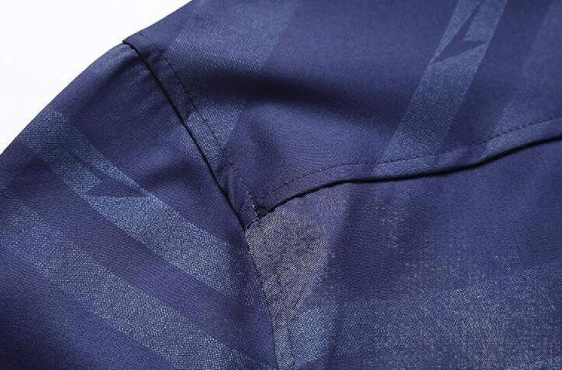 Jotebriyo Mens Business Long Sleeve Button Up Plus Size Stripe Dress Shirt Top