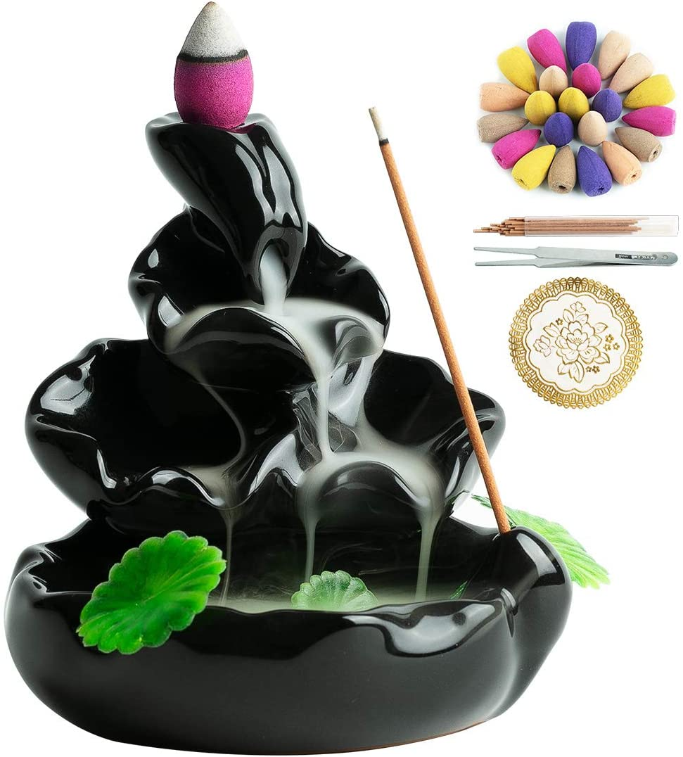 VVMONE Spring Backflow Incense Burner Waterfall Incense Holder for Home Decor Aromatherapy Ornament