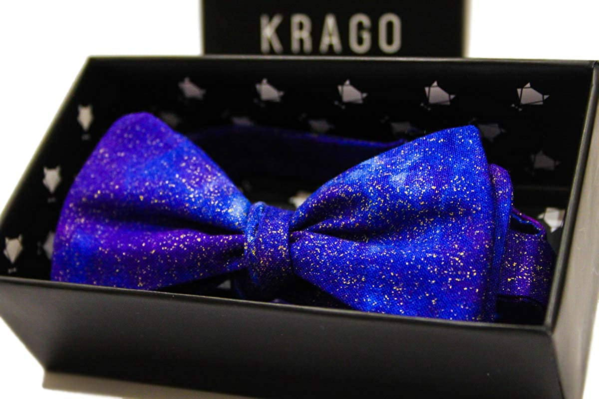 Blue Self-Tie Bow Tie for Men Krago Space Bow Tie with Wooden Gift Box