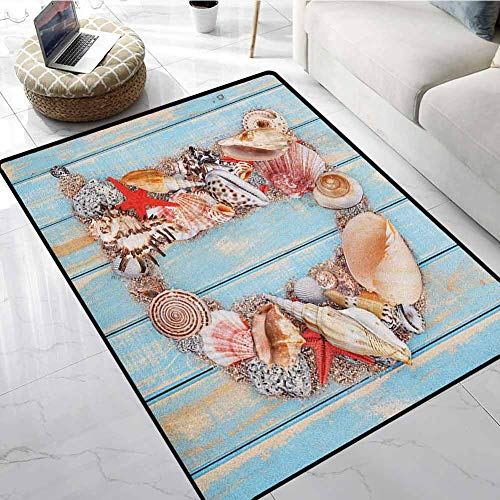 Letter D Area Rugs for Sale 4x5 ft Nautical Themed Alphabet with Seashells Animal Wooden Background Home Decoration Door Mat (Sale For Rugs Surya)