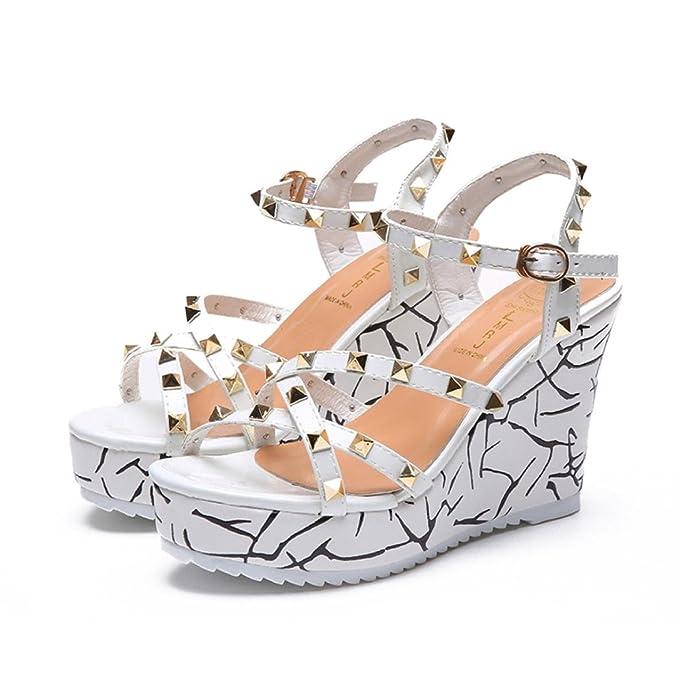 cd86c9ea791 Women s Espadrille Wedge OverDose Summer Rivet High Platform Open Toe Shoes  Cross Strap Womens Shoes(