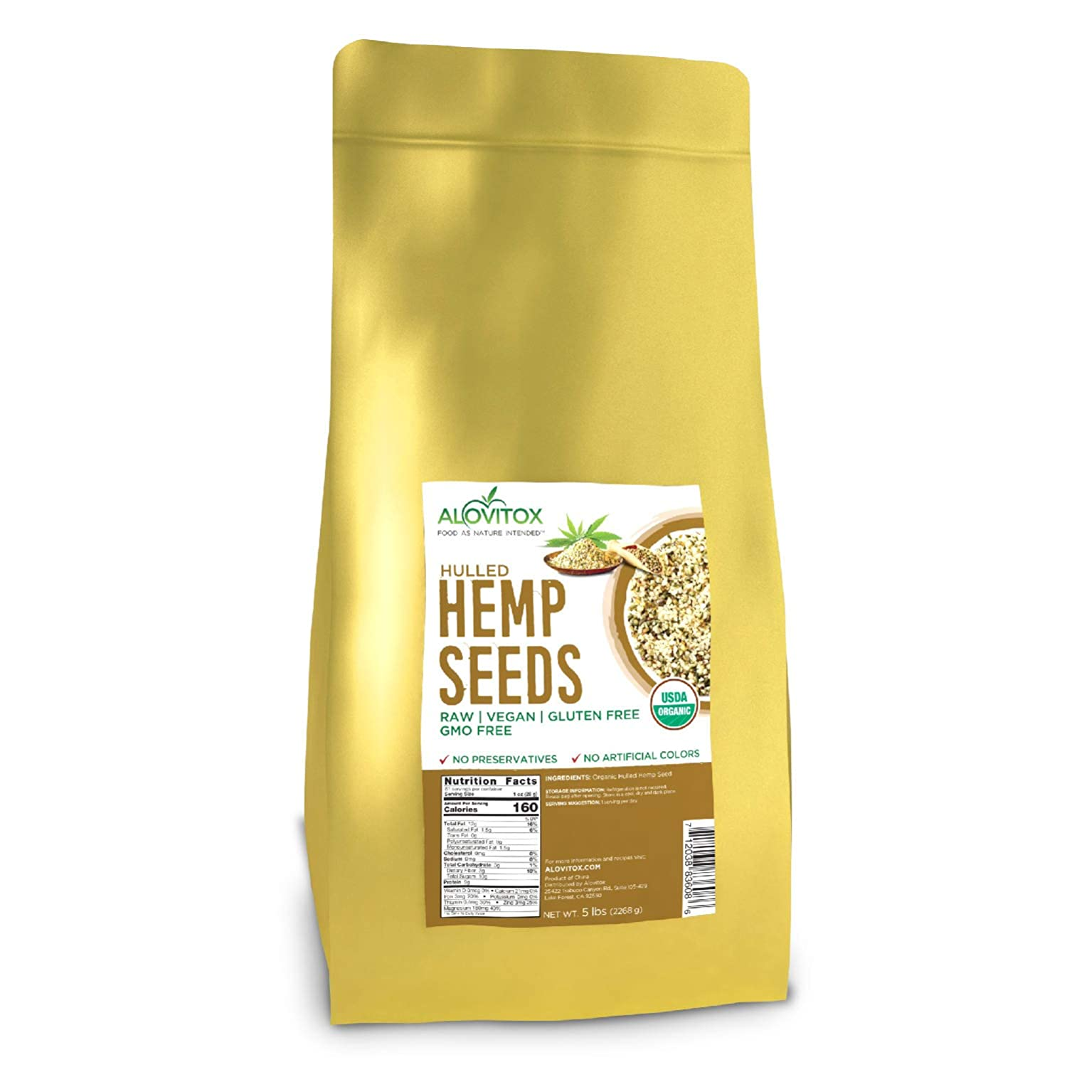 Organic Hulled Hemp Seeds 5lb   Raw Hemp Hearts 9g of Protein Omegas 3 and 6 Fatty Acids - Vegan, Keto, Paleo Friendly Low Carb Energizing Superfood For Snack, Salads, Topping by Alovitiox   5 lb Bag