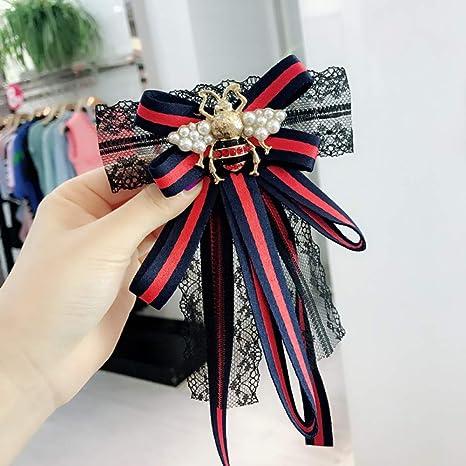 Vintage Big Fabric Bow Tie Broches Chica Mujer Moda Raya Camisa de ...