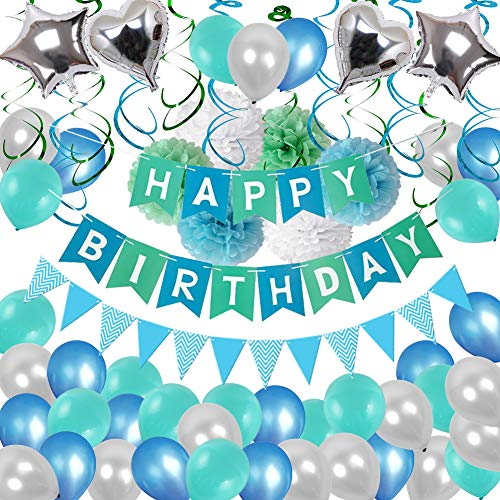 Birthday Decorations, Puchod Happy Birthday Party Decoration Kit Green Confetti Balloons 94pcs Swirl Blue Decorations with Paper Pom Pom 13th 16th 18th 21st 30th 40th 50th 60th 70th Party Supplies for Boys Mens]()
