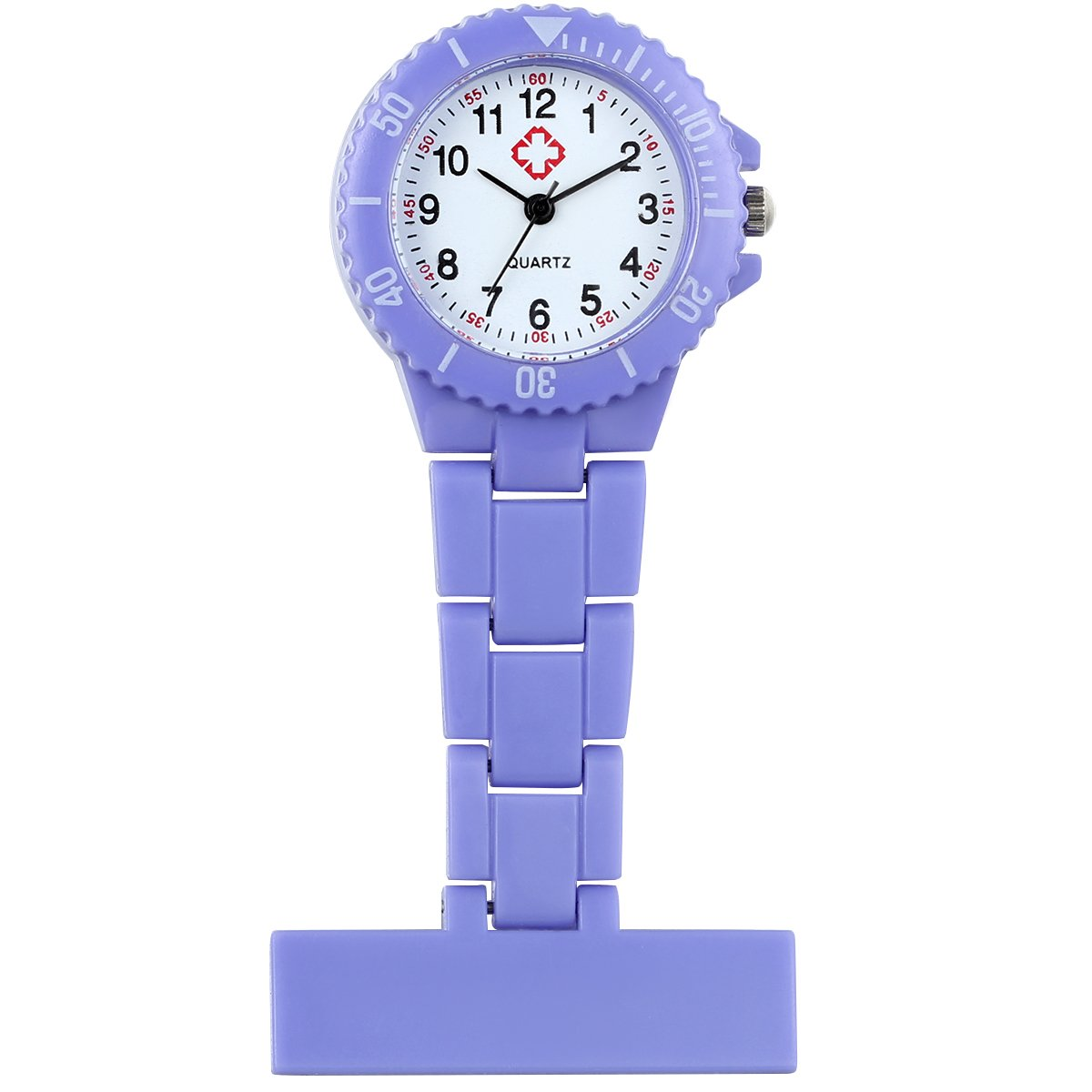 Nurse Pin-On Fob Brooch Lapel Hanging Quartz Pocket Watch with Arabic Number Markers(Purple)