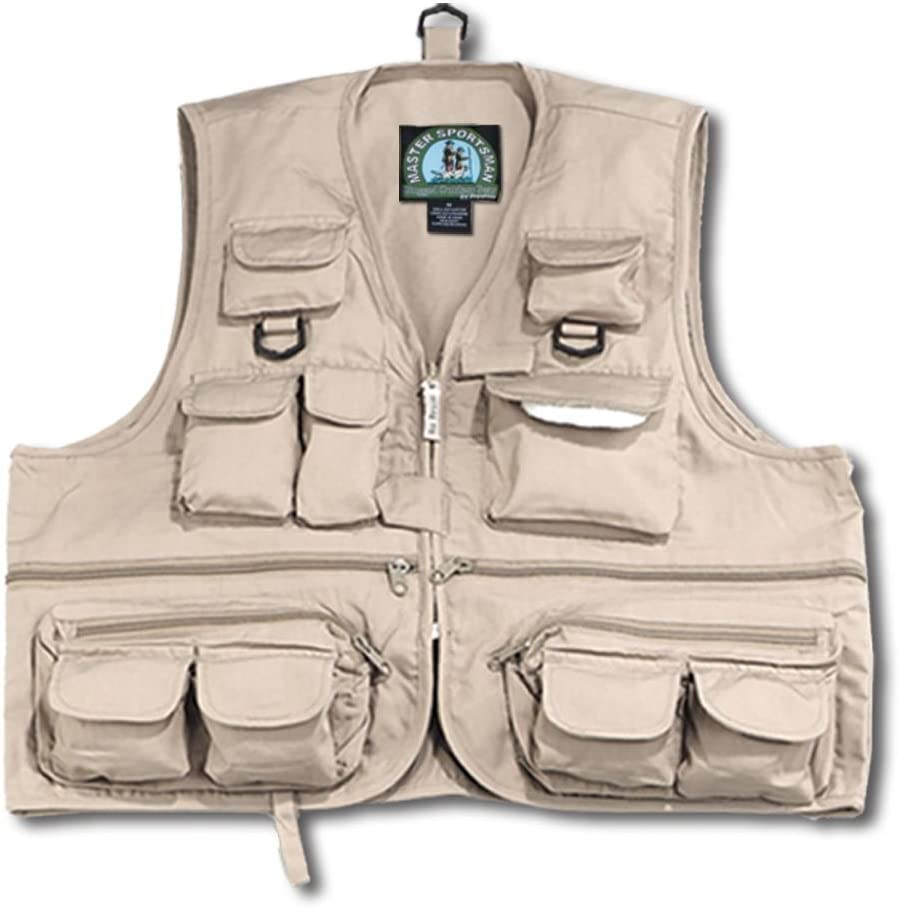 Master Sportsman Adult L//XL Fishing Vest Life Jacket 12-Pockets Brown *NEW*
