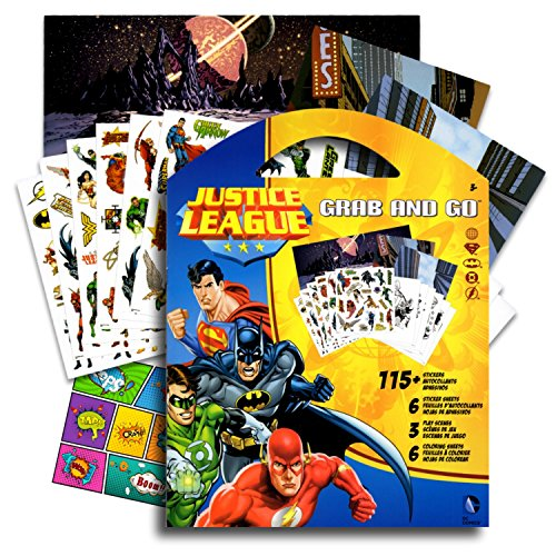 DC Comics Justice League Stickers Coloring Activity Set & Bonus Superhero Pop Art Sticker ~ Featuring Wonder Woman, Superman, Batman, The Flash, Green Lantern, Hawkwoman and many mor -