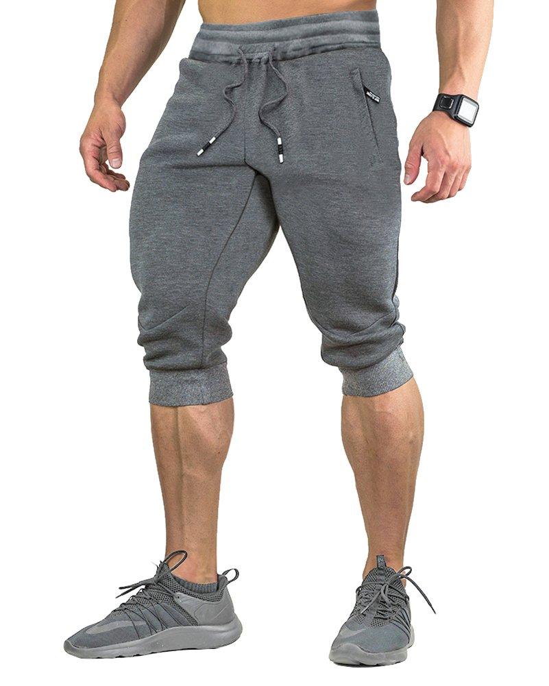 FASKUNOIE Mens Cotton Casual Shorts Gym 3/4 Jogger Capri Pants Long Short Gray by FASKUNOIE