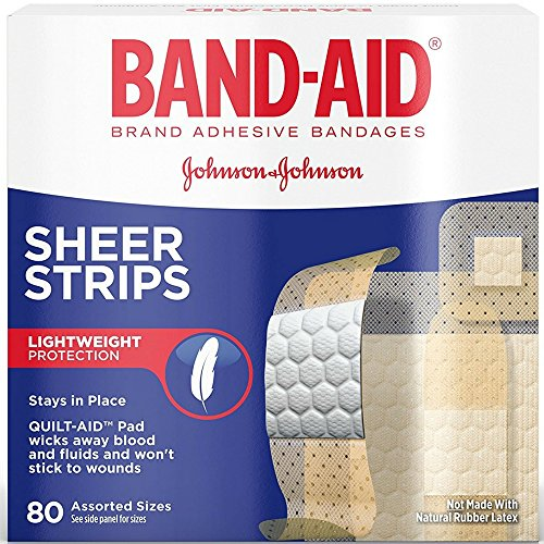 BAND-AID Sheer Strips Assorted 80 Each (Pack of 3) - Strips Band Aid Sheer