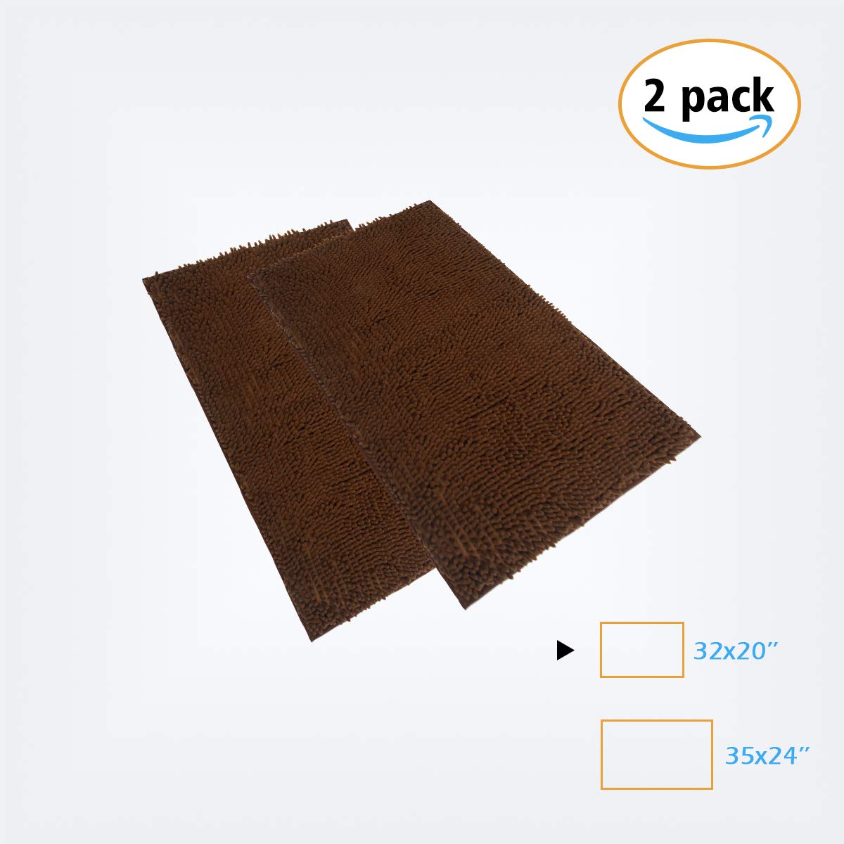 YOUKADA 2PCS Chenille Bath Mat for kids Bedroom Mat (32 x 20), Extra Soft and Absorbent Floor Mat Rugs, Machine Wash/Dry | Plush Carpet Mats for Tub, Shower, and Bath Room (Brown)