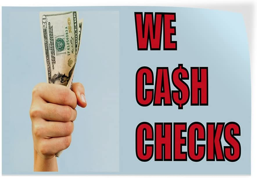 69inx46in Decal Sticker Multiple Sizes We Cash Checks #3 Business Money Outdoor Store Sign Aqua-Blue One Sticker